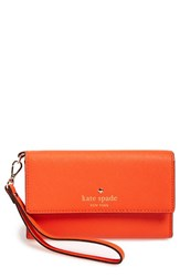 Kate Spade New York 'Cedar Street' Iphone 6 Leather Wristlet Orange Orange Rind