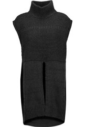Line Alexander Waffle Knit Cotton Blend Turtleneck Vest Charcoal