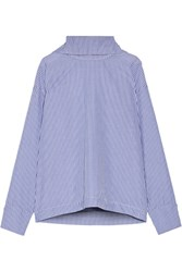 Rosie Assoulin Oversized Striped Cotton Poplin Shirt Blue