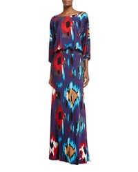 Rachel Pally Aurora 3 4 Sleeve Ikat Print Maxi Dress Women's Sumatra Print