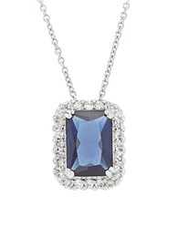 Lord And Taylor Cubic Zirconia Sterling Silver Rectangle Pendant Necklace
