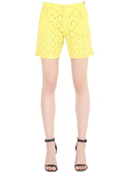 Monocrom Cotton Eyelet Denim Shorts Yellow