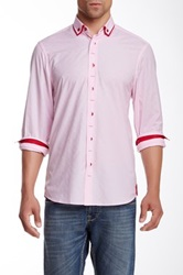 Brio Contrast Trim Long Sleeve Contemporary Fit Shirt Pink