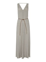 Maison Scotch Printed Maxi Dress With Tie Waist White