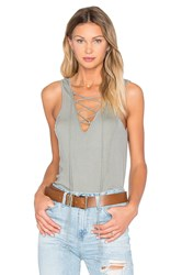 Heather Rib Lace Up Tank Sage