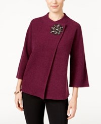 Jm Collection Petite Embellished Asymmetrical Wool Cardigan Only At Macy's Maroon Dahlia