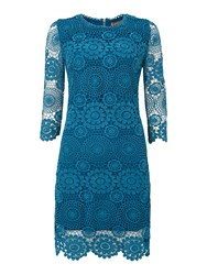 Jolie Moi Crochet 3 4 Sleeve Lace Tunic Blue