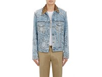 Gucci Men's Leopard Print Calf Hair Collar Embellished Trucker Jacket Light Blue