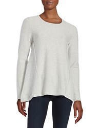 Lord And Taylor Mixed Panel Cashmere Sweater Light Grey Heather