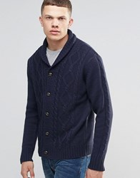 Brave Soul Shawl Neck Cardigan In Cable Knit Navy
