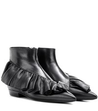 J.W.Anderson Ruffle Leather Ankle Boots Black