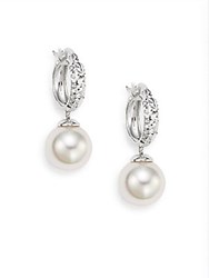 Majorica Ophol 10Mm White Round Pearl And Sterling Silver Hoop Earrings 1 White Silver