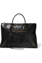 Balenciaga Classic Weekend Textured Leather Tote Black