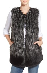 Parkhurst Women's Two Tone Faux Fur Vest Black Mix