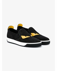 Fendi Bag Bugs Suede And Leather Sneakers Black Yellow Denim