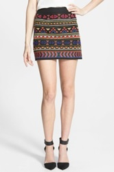 Sam Edelman Beaded Geo Print Miniskirt Black
