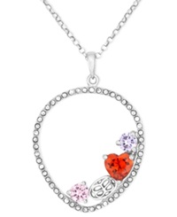 Sis By Simone I Smith Platinum Over Sterling Silver Necklace Multi Color Crystal Teardrop Pendant