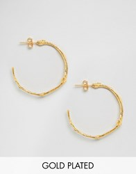 Ottoman Hands Branch Hoop Earrings Gold