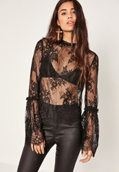 Missguided Black High Neck Lace Flare Sleeve Blouse