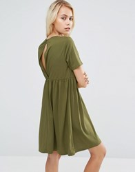 Asos Smock Dress With Cut Out Back Khaki Green