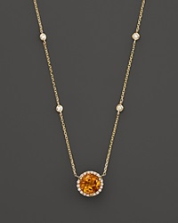 Bloomingdale's Citrine And Diamond Halo Pendant Necklace With 4 Stations In 14K Yellow Gold 16 Orange Gold