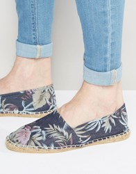 Asos Espadrilles In Denim Floral Print Blue