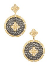Freida Rothman 14K Gold Plated Sterling Silver Cz Hammered Floral Earrings Metallic