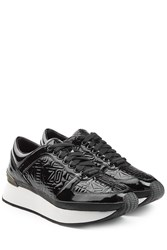 Kenzo Embossed Sneakers With Platform Black