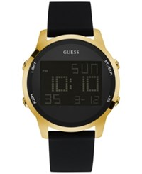 Guess Men's Digital Chronograph Black Leather Strap Watch 46Mm U0787g1