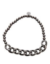Lord And Taylor Black Sterling Silver Beaded Curbed Chain Stretchy Bracelet