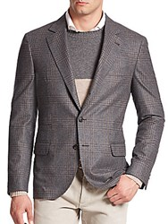 Brunello Cucinelli Glen Plaid Wool Silk Cashmere Sportcoat Grey