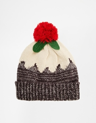 Asos Christmas Pudding Beanie Hat Brown