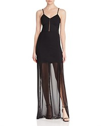 French Connection Chantilly Bow Sheer Paneled Maxi Dress Black