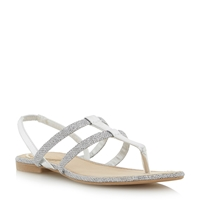 Head Over Heels Limmy Double Strap Toe Post Flat Sandals Silver