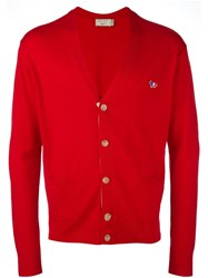 Maison Kitsune Placket Detail Cardigan Red