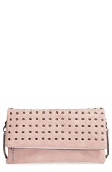 Sole Society 'Gamble' Grommet Faux Leather Flap Clutch Pink Blush