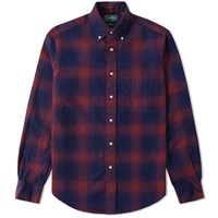Gitman Brothers Vintage Indigo Check Flannel Shirt Red