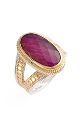 Anna Beck Precious Stone Oval Split Shank Ring Gold Ruby