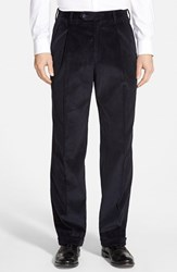Men's Big And Tall Berle Pleated Corduroy Trousers Navy