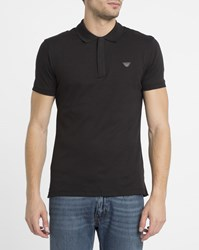 Armani Jeans Black Zip Neck Chest Logo Slim Fit Polo Shirt