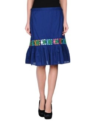 Local Apparel Knee Length Skirts Dark Blue
