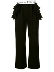 Natasha Zinko Ruffle Detail Trousers Black