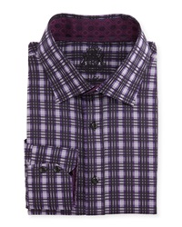 English Laundry Plaid Woven Dress Shirt Blk Purple