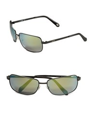 Fossil 62Mm Square Sunglasses Black Blue
