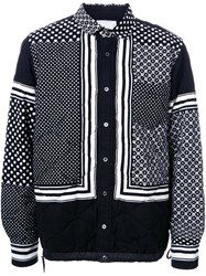 Sacai Scarf Print Shirt Jacket Black