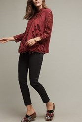 Anthropologie Laced High Neck Blouse Wine