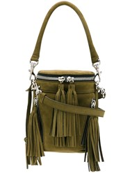 Andrea Incontri Small Fringed Crossbody Bag Green