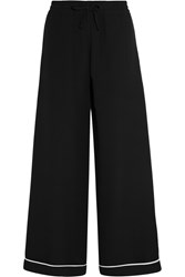 Valentino Silk Crepe De Chine Wide Leg Pants Black