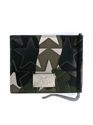 Valentino Camustars Leather Billfold Wallet Black Purple Beige Khaki Green