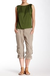 Alice Olivia Narrow Rolled Cuff Linen Cargo Pant Brown